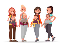Group Of Happy Mothers With Children In Baby Sling. Moms With Kids. Vector Illustration