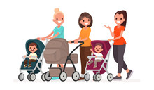 Group Of Moms Communicate And Ride Toddlers In Prams. Walk Of Young Mothers With Children