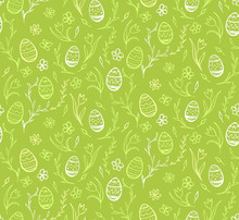 Seamless Pattern Sketches Of Easter Eggs And Flowers On Green Background.