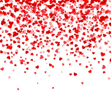 Valentines Day Falling Red Hearts On White Background. Heart Shaped Paper Confetti. February 14 Greeting Card.