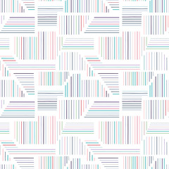 Geometric vector seamless pattern with different geometrical forms. Striped square, triangle, rectangle. Modern techno minimal design. Abstract background. Graphic colorful Illustration