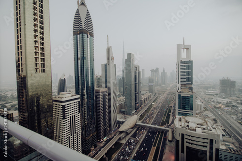Dubai Skyline And Downtown Skyscrapers On Sunset Modern