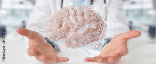 Doctor using digital brain scan hologram 3D rendering