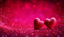 Two Red Hearts In Shiny Backgr...
