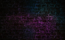 Background Of Empty Brick Wall With Neon Lights