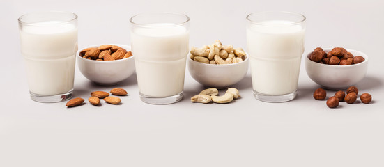 Fototapeta Do gastronomi Set of vegan non diary milk. Health care and diet concept. Banner format