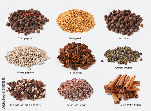 Fotografia Different kinds of spices on white background