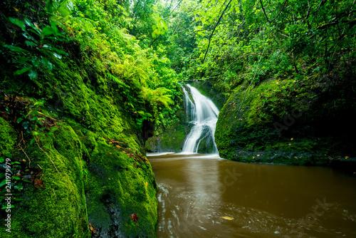 Fényképezés Wigmore's waterfall also known as Papau waterfall on Rarotonga in the Cook Islan