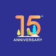 15 years anniversary celebration logotype. Multicolor number with modern leaf and snow background. Design for booklet, leaflet, magazine, brochure, poster, web, invitation or greeting card.