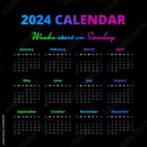Fotografia  Simple 2024 year calendar, weeks start on Sunday