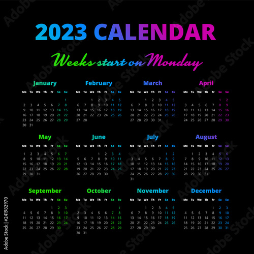 Fotografia  Simple 2023 year calendar, weeks start on Monday