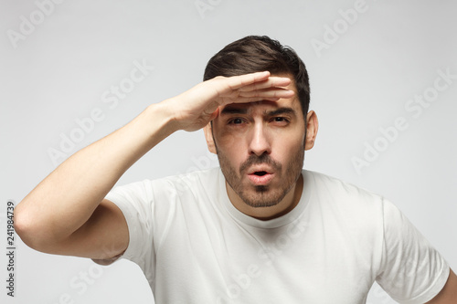 Picture of guy looking far away as if looking for some place or great perpectives for business