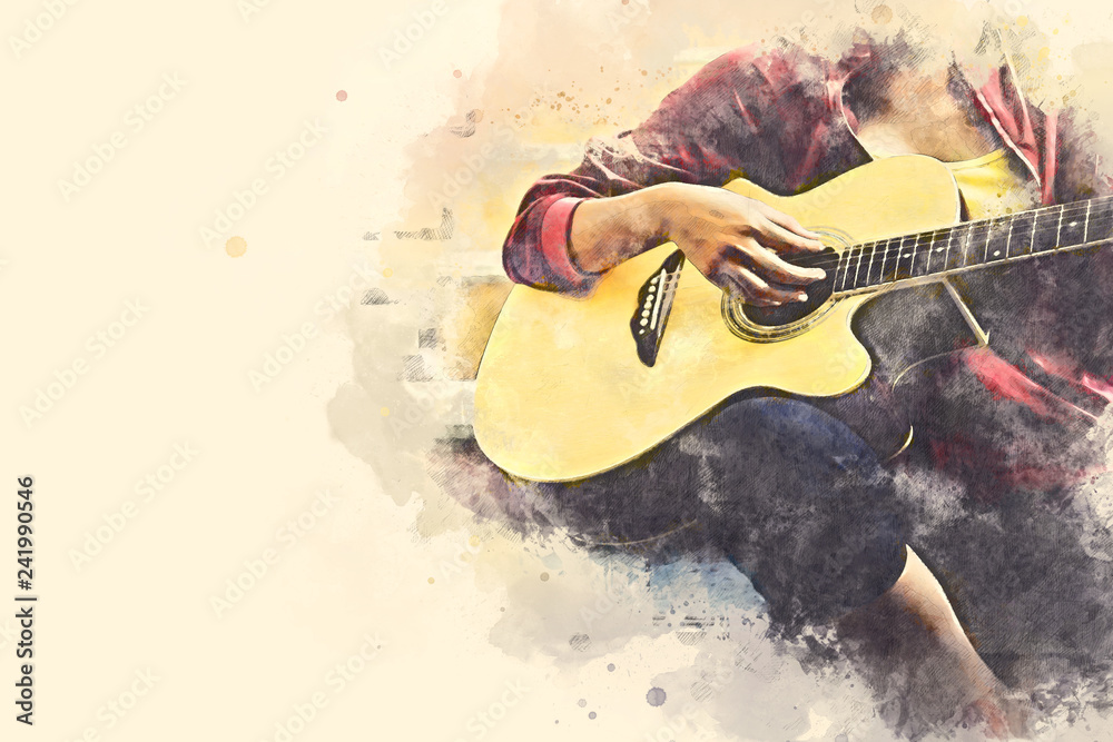 Fototapety, obrazy: Close-up women playing acoustic guitar on walking street on watercolor illustration painting background.