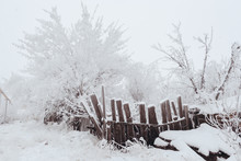 The Old Wooden Warped Fence In The Winter