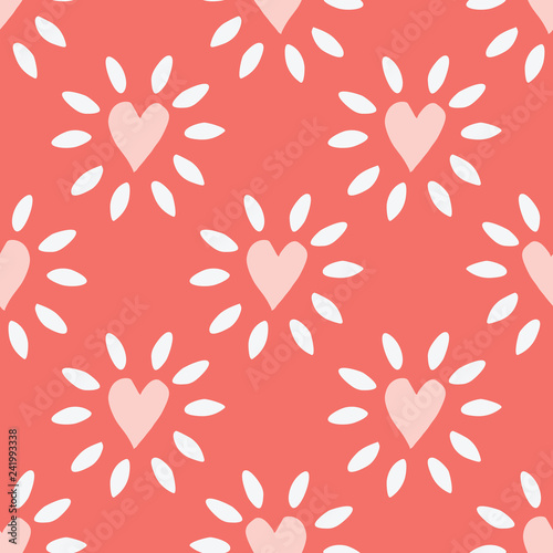 Fotografija  Charming folk art repeating pattern of peach and white glowing hearts on a coral seamless background