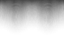 Halftone Wave Pattern. Horizontal Background Using Halftone Wavy Dots Texture.  Vector Illustration.