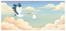 Cigüeña Volando Con Bebe En ...