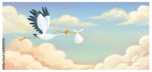Fotografía  cigüeña volando con bebe en el cielo