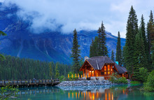 Over Looking Of  Emerald Lake After Sunset, Yoho National Park, British Columbia, Canada