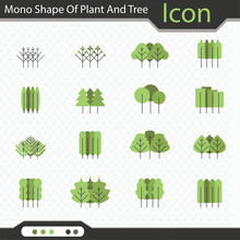 Mono Shape Of Plant And Tree Icon - Vector