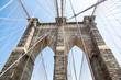 Pillar central Brooklyn Bridge in new york