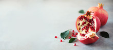 Ripe Pomegranate Fruit With Gr...