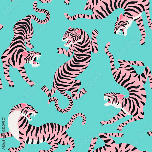 Fototapeten Künstlich Vector seamless pattern with cute tigers on background. Circus animal show. Fashionable fabric design.
