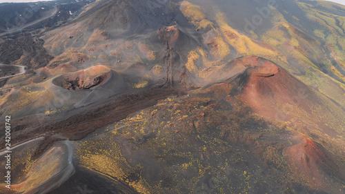 Deurstickers Canarische Eilanden Aerial panorama of collapsed volcano cone, Mount Etna, Sicily, Italy.Aerial photo Mount Etna volcanic crater, scenic volcanic landscape,black magma sand and vivid vegetation