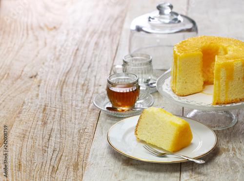 Obraz na plátně  homemade orange chiffon cake