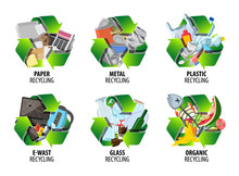 Recycling Label With Different...