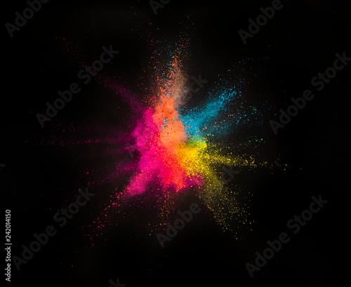 Fototapeta Explosion of colored powder on black background obraz na płótnie