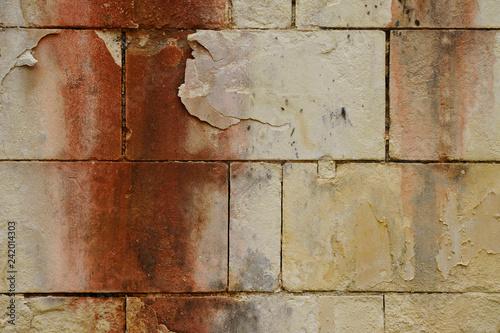 Vieux mur de pierres aux brulures de l'enfer Canvas Print