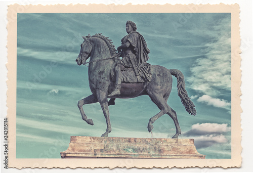 Deurstickers Historisch mon. Louis the XIVth statue in Lyon - vintage photograph