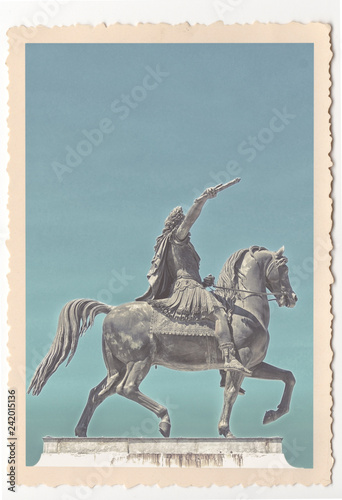 Deurstickers Historisch mon. Louis the XIVth statue in Montpellier - vintage photograph