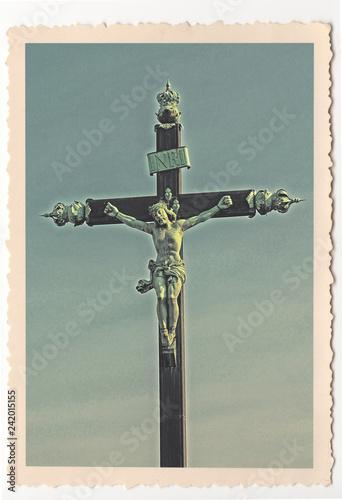 Foto op Canvas Historisch mon. Croix du Peyrou - Montpellier - vintage photograph