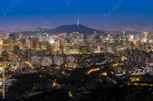 Night view of Seoul Downtown cityscape