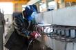 Welder welds metal parts