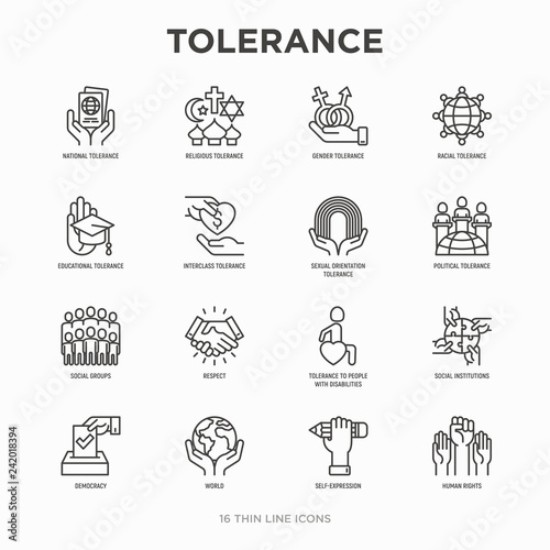 Carta da parati Tolerance thin line icons set: gender, racial, national, religious, sexual orientation, educational, interclass, for disability, respect, self-expression, human rights, democracy