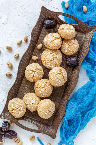 Traditional Moroccan cookie with sesame seeds.