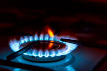 Blue Gas Burning From A Kitche...