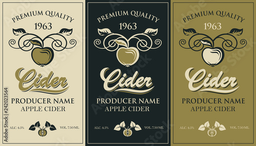 Fotografia collection of labels for various cider types