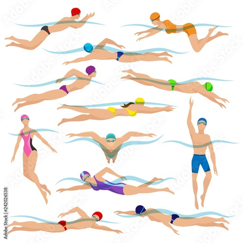 Swimmers vector Wallpaper Mural