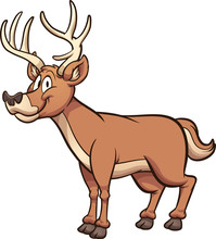 Happy Cartoon Male Deer. Vector Clip Art Illustration With Simple Gradients. All In A Single Layer.