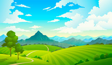 Meadows With Mountains. Landscape Hill Field Mountain Land Sky Wild Nature Grass Forest Countryside Tree. Summer Land