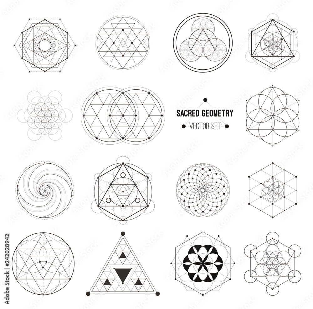 Fototapeta Vector set of sacred geometry symbols