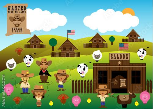 Poster Castle America cowboys