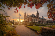 THE HAGUE, 19 November 2018 - Cloudy Early Morning On The Peace Palace Garden, Seat Of The International Court Of Justice, Principal Judicial Organ Of The United Nations, Netherlands