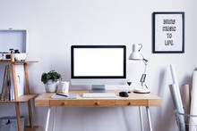Scandinavian Interior Of Home Desk With Mock Up Computer Screen, Photo Frame, Office Accessories, Projects And Gramophone. Minimalistic Space For Work, Hobby And Listen Music.
