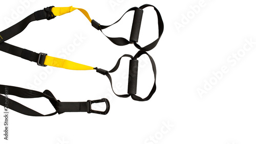 Fotografía Black trx loop functional training equipment on white background isolated