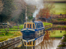Canal Boat On Brecon And Monmouthshire Canal.